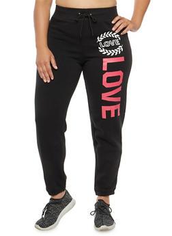Plus Size Love Graphic Sweatpants - 1951038347088
