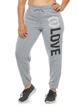 Plus Size Love Graphic Sweatpants - 1951038347088