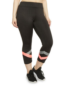 Plus Size Active Capri Leggings with Cross Striped Detail - 1951038347099