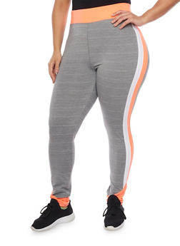 Plus Size Space Dye Active Pants with Varsity Stripe - 1951038347172