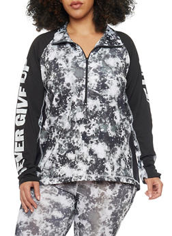 Plus Size Tie Die Activewear Half Zip Top - 1951038347174