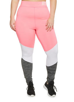 Plus Size Color Block Space Dye Activewear Leggings - 1951038347176