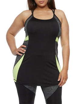 Plus Size Athletic Strappy Back Tank Top - 1951038347717