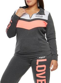 Plus Size Color Block Love Graphic Sweatshirt - 1951038347788