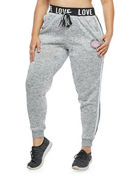 Plus Size Marled Love Graphic Sweatpants - 1951051063473