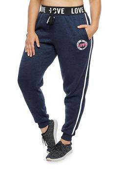 Plus Size Marled Love Graphic Sweatpants - 1951051063473