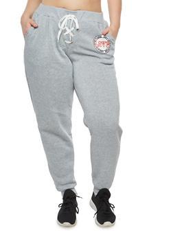 Plus Size Lace Up Graphic Sweatpants - 1951051063526