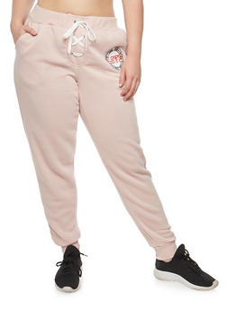 Plus Size Lace Up Graphic Sweatpants - 1951051063526
