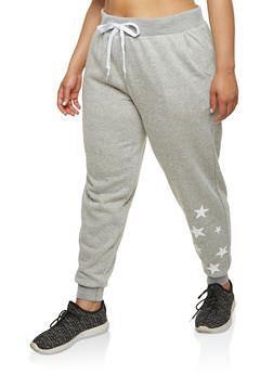 Plus Size Star Graphic Sweatpants - 1951051063539
