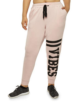 Plus Size Vibes Graphic Sweatpants - 1951051063541
