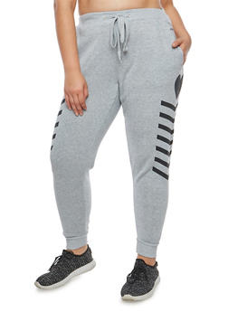 Plus Size Heart Graphic Sweatpants - 1951051063545
