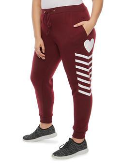 Plus Size Heart Graphic Sweatpants - 1951051063545