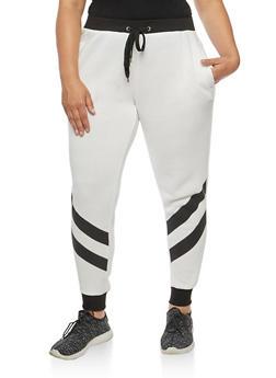 Plus Size Two Stripe Sweatpants - WHITE - 1951051063546