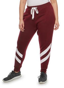 Plus Size Two Stripe Sweatpants - 1951051063546