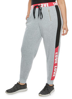 Plus Size Love Graphic Sweatpants - 1951051063550