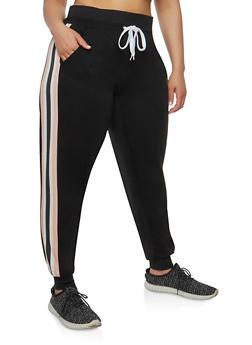 Plus Size Side Stripe Sweatpants - 1951051063552