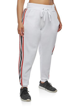 Plus Size Side Stripe Sweatpants - 1951051063552