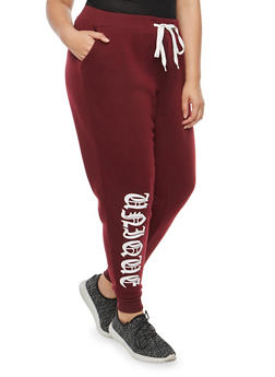 Plus Size Unique Graphic Sweatpants - 1951051063556