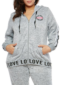Plus Size Marled Love Graphic Hooded Sweatshirt - 1951051065639