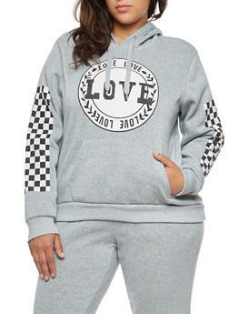 Plus Size Love Checkered Graphic Sweatshirt - 1951051066135