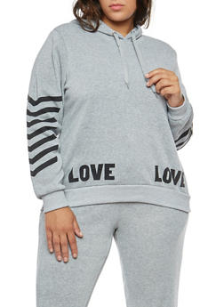 Plus Size Love Graphic Pullover Sweatshirt - 1951051066137