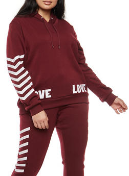 Plus Size Love Graphic Pullover Sweatshirt - 1951051066137