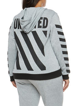 Plus Size Striped Graphic Hooded Sweatshirt - 1951051066138