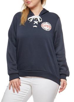 Plus Size Lace Up Hooded Sweatshirt - 1951051066140