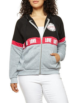 Plus Size Love Graphic Color Block Sweatshirt - 1951051066142
