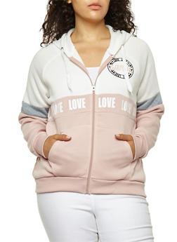 Plus Size Love Graphic Color Block Sweatshirt - 1951051066142