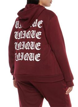 Plus Size Unique Back Graphic Zip Up Sweatshirt - 1951051066145