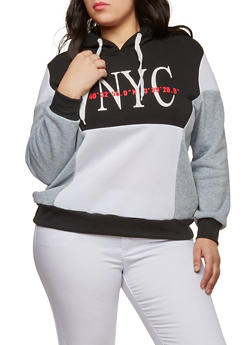 Plus Size Graphic Color Block Sweatshirt - 1951051066432