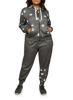 Plus Size Star Graphic Hooded Sweatshirt - 1951051066693