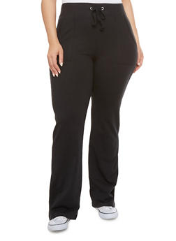 Plus Size Drawstring Lounge Pants with Velcro Pockets - 1951054265402