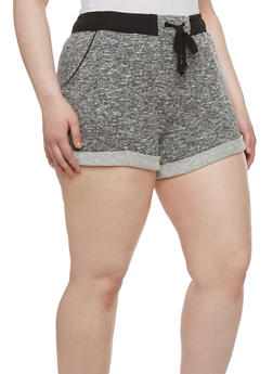 Plus Size Drawstring Shorts with Marled Knit and Rolled Cuffs - 1951054267804