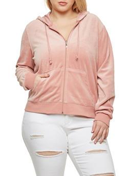 Plus Size Hooded Velour Sweatshirt - 1951054268905
