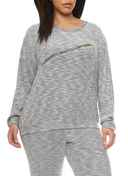 Plus Size Long Sleeve Zip Trim Sweat Top - 1951058932253