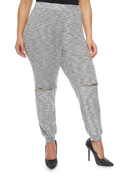 Plus Size Joggers with Zipper Knees - HEATHER  GREY - 1951058932254