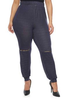 Plus Size Joggers with Zipper Knees - DENIM BLUE - 1951058932254