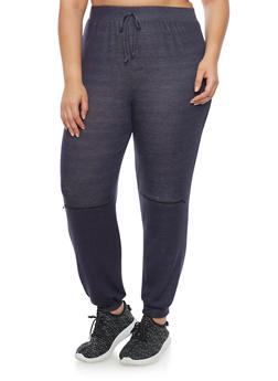 Plus Size Zip Knee Marled Joggers - 1951058937231