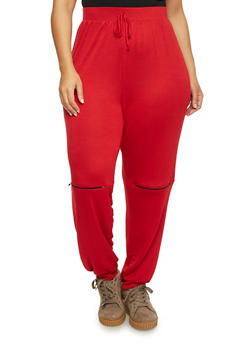 Plus Size Zip Knee Marled Joggers - RED - 1951058937231