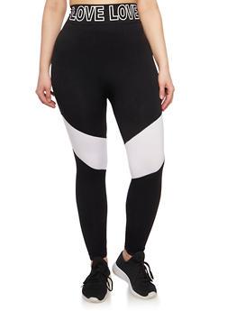 Plus Size Love Graphic Activewear Leggings - WHITE - 1951061630019
