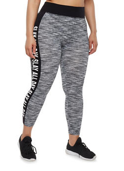 Plus Size Activewear Leggings with Slay Graphic - 1951061630029