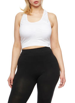 Plus Size Activewear Cropped Tank Top - WHITE - 1951061630049