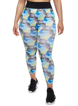 Plus Size Printed Activewear Leggings - 1951061630639