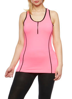 Plus Size Zip Activewear Racerback Tank Top - 1951061630739