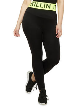 Plus Size Killin it Graphic Activewear Leggings - 1951061636049