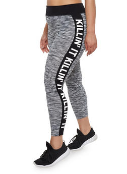 Plus Size Activewear Leggings with Killin It Graphic - 1951061636129