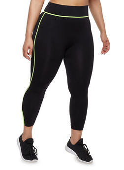 Plus Size Activewear Leggings with Caged Hem - 1951061636329