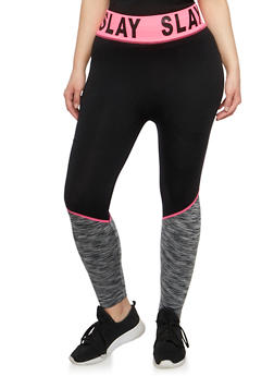 Plus Size Slay Graphic Activewear Leggings - 1951061636639
